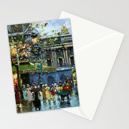 Paris Cafes and Opera House, Autumn, France landscape painting Stationery Cards