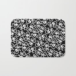 Black and White Bikes Pattern Bath Mat