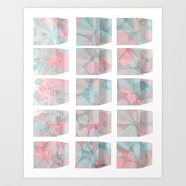 pastel blocks & hearts Art Print