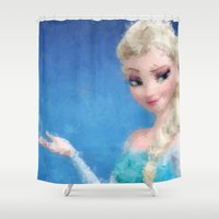 frozen elsa Shower Curtains featuring Elsa - Frozen by lauramaahs