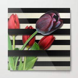 Red & Purple Tulips Black Layered Stripes Metal Print
