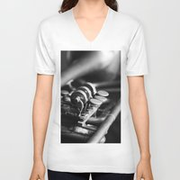 trumpet V-neck T-shirts featuring Trumpet by Falko Follert Art-FF77