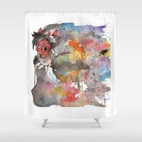 princess mononoke Shower Curtains featuring Rainbow Princess Mononoke by scoobtoobins