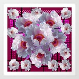 FUCHSIA-PURPLE  WHITE TREE PEONY FLOWERS ART Art Print