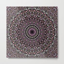 Pink Mosaic Window Mandala Metal Print