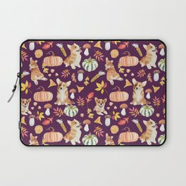 Welsh Corgi Dog Breed Fall Party -Cute Corgis Celebrate Autumn With Pumpkins Mushrooms Leaves - Dark Purple  Laptop Sleeve