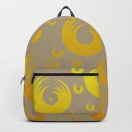 Bold Geometric Abstract Yellow Swirls On Hazelnut Background Backpack