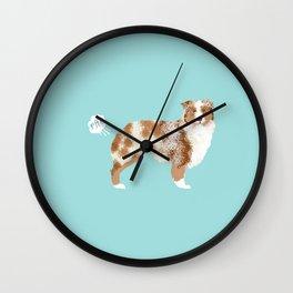Australian Shepherd red merle funny dog fart Wall Clock