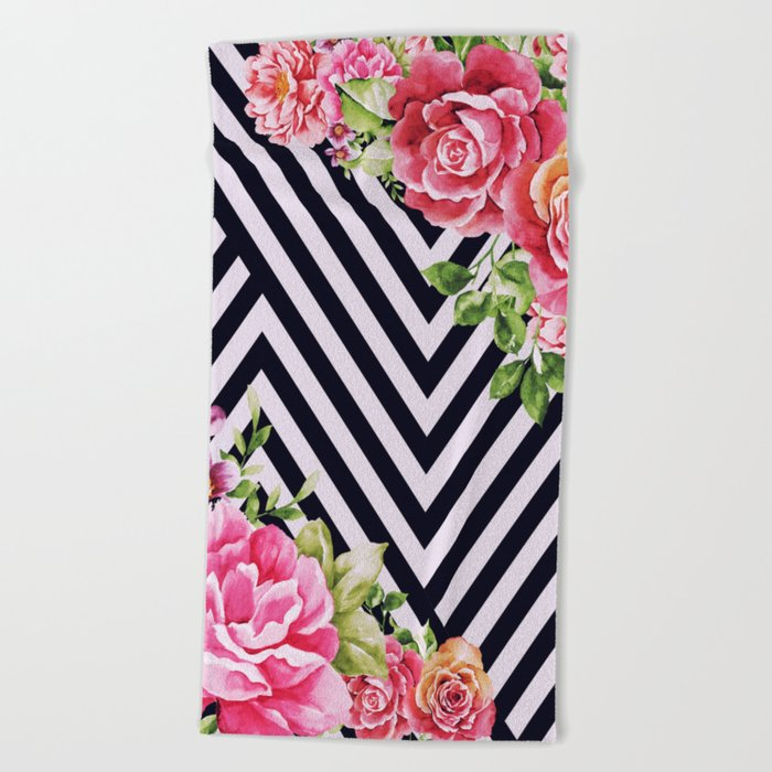 flowers geometric Beach Towel