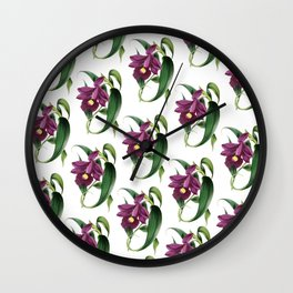Purple Orchids Vintage Wall Clock