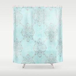 Vintage Teal Damask Shower Curtain