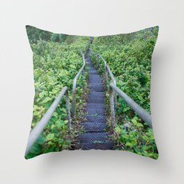 Paths of Green Throw Pillow