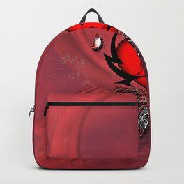 Heart with feathers and butterflies Backpack