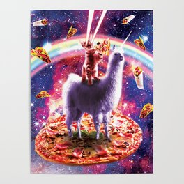 Laser Eyes Outer Space Cat Riding On Llama Unicorn Poster