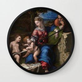"Raffaello Sanzio da Urbino ""The Holy Family below the oak"", 1518 Wall Clock"
