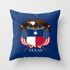 Texas flag and eagle crest - original design by BruceStanfieldArtist Throw Pillow