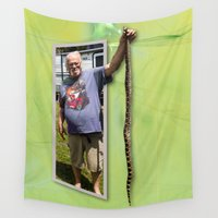 larry Wall Tapestries featuring The Snake Dude by Roger Wedegis