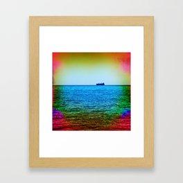 Cargo Ship on the Horizon Framed Art Print