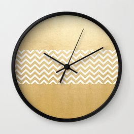 Gold Foil With White Chevron  Wall Clock