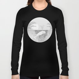 Tropical Black and White Vintage Whale Design Long Sleeve T-shirt