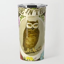 Wise Owl Sitting on a Branch Surrounded by Flowers Travel Mug