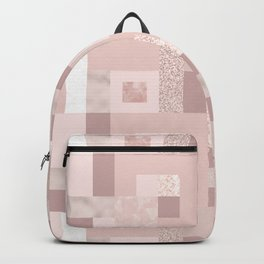 Rose Gold and Pink Squares Backpack