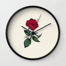 Vintage ivory white red green botanical flower Wall Clock
