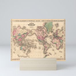 1861 World Map - Johnson's World on Mercators Projection Mini Art Print