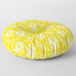 Mid Century Modern Atomic Space Age Pattern Yellow Floor Pillow