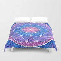 flower of life Duvet Covers featuring Starry Flower of Life by Elspeth McLean
