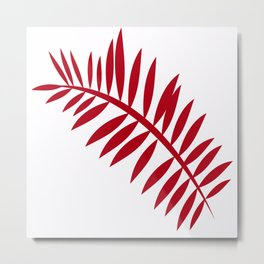 PALM LEAF RED Metal Print