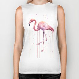 Flamingo Watercolor Tropical bird Biker Tank
