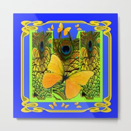 BLUE ART NOUVEAU YELLOW BUTTERFLIES GREEN ART Metal Print