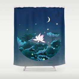 Minhwa: Lotus Pond at Night D Type Shower Curtain