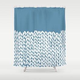 Half Knit Blue Shower Curtain