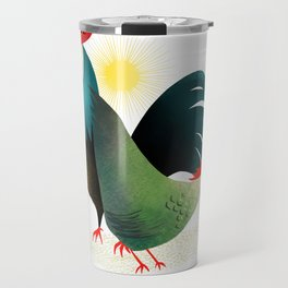 Morning Glory Rooster And Hen Wake Up Call Travel Mug