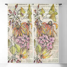 Warm toned flowers – watercolor illustration Blackout Curtain