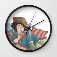 reading Wall Clocks featuring Reading by Vera Johansen