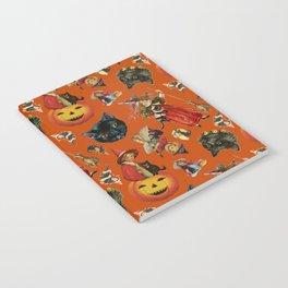 Vintage Black Cat Halloween Toss in Pumpkin Spice Notebook