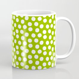 White Polka Dots on Fresh Spring Green - Mix & Match with Simplicty of life Coffee Mug