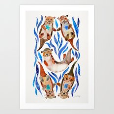 Five Otters – Blue Palette Art Print