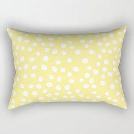 Pastel yellow and white doodle dots Rectangular Pillow