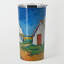 Three white cottages in Saintes-Maries by Vincent van Gogh Travel Mug