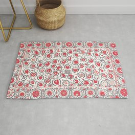 Wildflower I // 18th Century Positive Happy Colorful Red Green Botanical Garden Flowery Pattern Rug