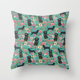 Coonhound floral pattern dog breed customized pet portrait gifts for dog lover Throw Pillow