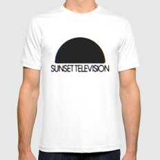 Sunset Television Logo White MEDIUM Mens Fitted Tee