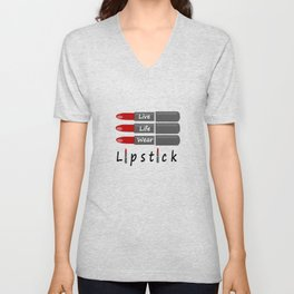 Live Life Wear Lipstick Unisex V-Neck