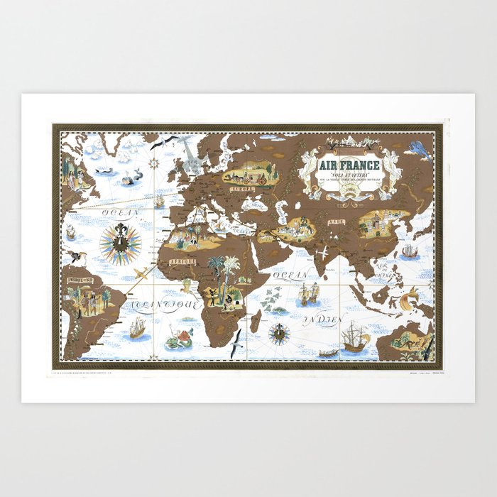 Blank World Map 1939.World Map Wall Art 1939 Dorm Decor Mappemonde Air France Airways Art