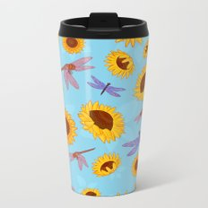Sunflowers & Dragonflies Metal Travel Mug