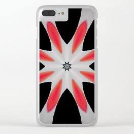 Simple Red and Black Flower Abstract Design Clear iPhone Case